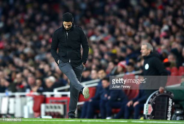 Mikel Arteta Manager of Arsenal reacts during the Premier League match between Arsenal FC and Chelsea FC at Emirates Stadium on December 29 2019 in...