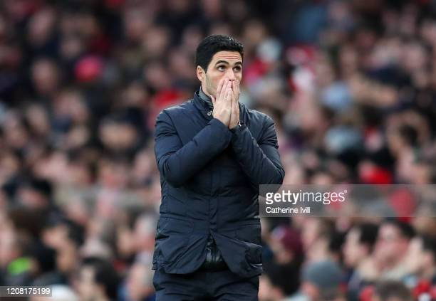Mikel Arteta Manager of Arsenal reacts during the Premier League match between Arsenal FC and Everton FC at Emirates Stadium on February 23 2020 in...