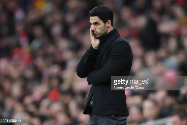 Mikel Arteta Manager of Arsenal reacts during the Premier League match between Arsenal FC and West Ham United at Emirates Stadium on March 07 2020 in...