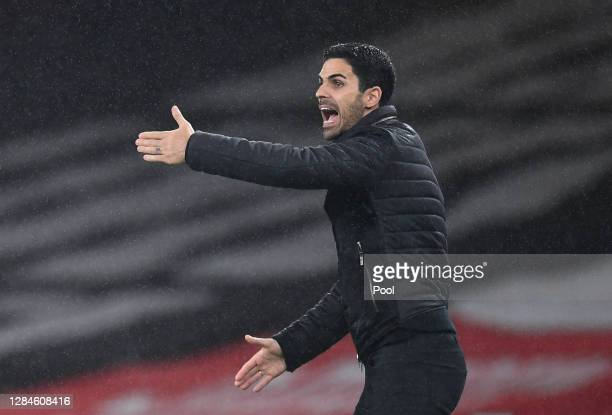 Mikel Arteta Manager of Arsenal reacts during the Premier League match between Arsenal and Aston Villa at Emirates Stadium on November 08 2020 in...