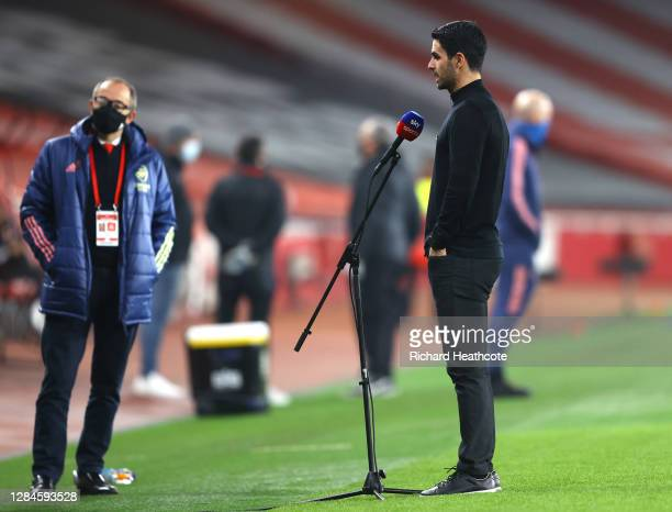 Mikel Arteta Manager of Arsenal speaks to the media ahead of the Premier League match between Arsenal and Aston Villa at Emirates Stadium on November...