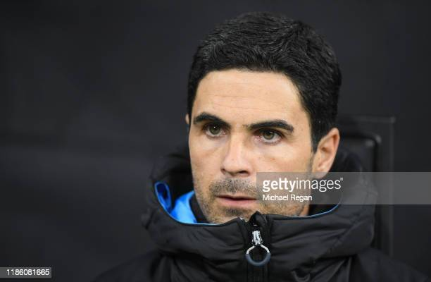 Mikel Arteta, Manchester City assistant coach looks on during the UEFA Champions League group C match between Atalanta and Manchester City at Stadio...