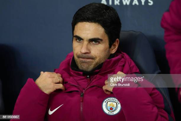 Mikel Arteta Manchester City coach looks on prior to the Premier League match between Manchester City and Southampton at Etihad Stadium on November...