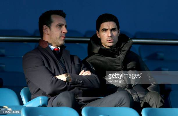 Mikel Arteta Manger of Arsenal FC is seen in the stands prior to the Premier League match between Everton FC and Arsenal FC at Goodison Park on...