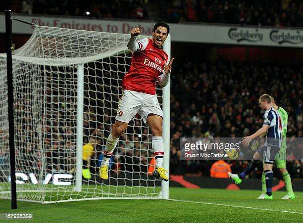 Mikel Arteta of Arsenal celebrates scoring the 2nd goal from the penalty spot during the Barclays Premier League match between Arsenal and West...