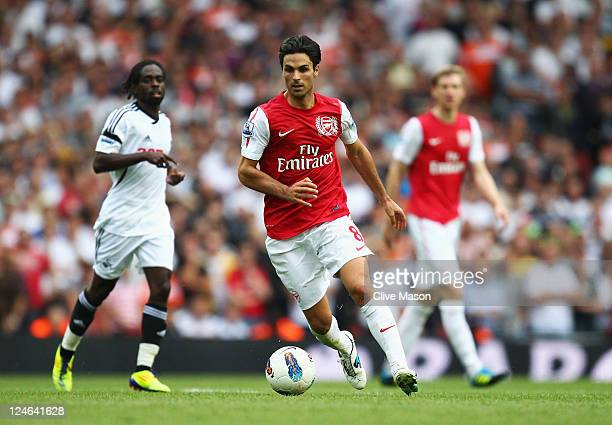 Mikel Arteta of Arsenal in action during the Barclays Premier League match between Arsenal and Swansea City at Emirates Stadium on September 10 2011...