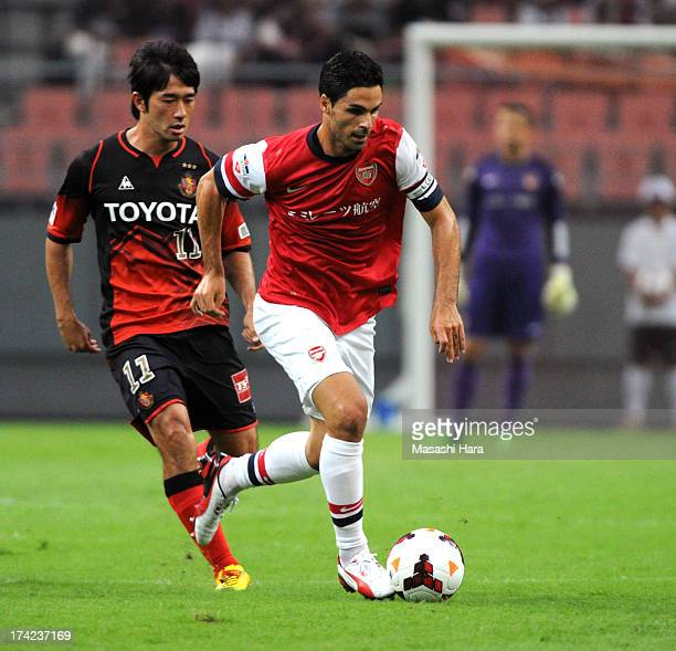 Mikel Arteta of Arsenal in action during the pre-season friendly match between Nagoya Grampus and Arsenal at Toyota Stadium on July 22, 2013 in...