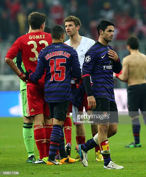 Mikel Arteta of Arsenal looks dejected after the Round of 16 second leg match between Bayern Muenchen and Arsenal at Allianz Arena on March 13 2013...