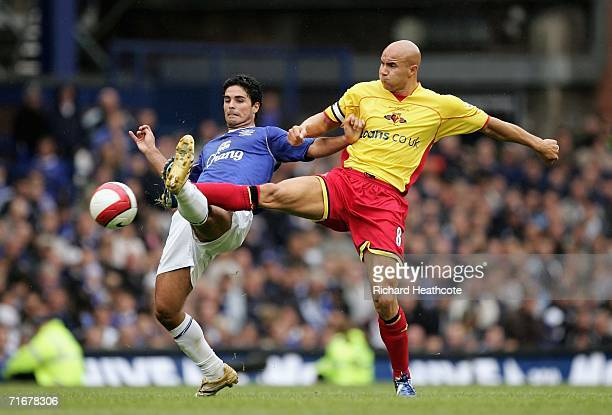 Mikel Arteta of Everton and Gavin Mahon of Watford battle for the ball during the Barclays Premiership match between Everton and Watford at Goodison...