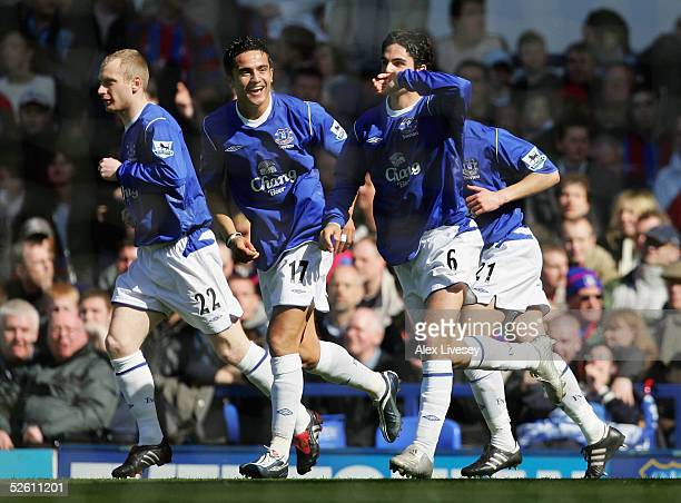 Mikel Arteta of Everton celebrates his goal during the Barclays Premiership match between Everton and Crystal Palace at Goodison Park on April 10...