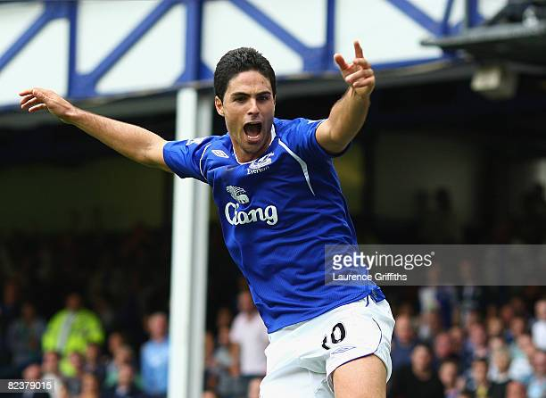 Mikel Arteta of Everton celebrates scoring the equaliser during the Barclays Premier League match between Everton and Blackburn Rovers at Goodison...