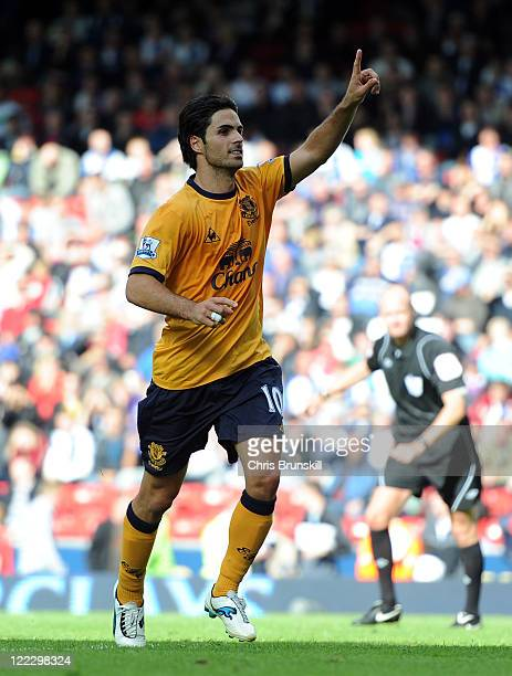 Mikel Arteta of Everton celebrates scoring the opening goal from the penalty spot during the Barclays Premier League match between Blackburn Rovers...