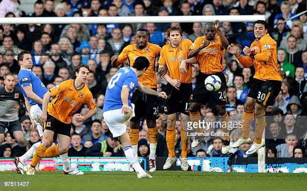 Mikel Arteta of Everton fires a free kick into the Hull wall during the Barclays Premier League match between Everton and Hull City at Goodison Park...