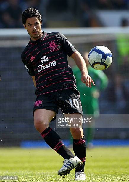 Mikel Arteta of Everton in action during the Barclays Premier League match between Blackburn Rovers and Everton at Ewood Park on April 17 2010 in...