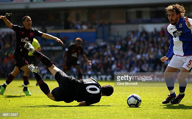 Mikel Arteta of Everton is fouled and awarded a penalty during the Barclays Premier League match between Blackburn Rovers and Everton at Ewood Park...