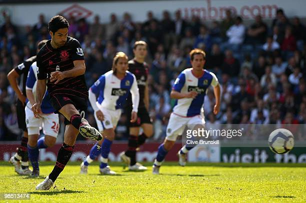 Mikel Arteta of Everton scores the first goal from the penalty spot during the Barclays Premier League match between Blackburn Rovers and Everton at...