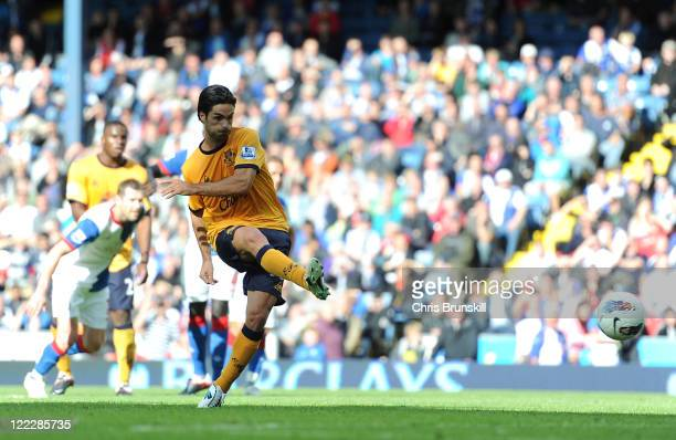 Mikel Arteta of Everton scores the opening goal from the penalty spot during the Barclays Premier League match between Blackburn Rovers and Everton...