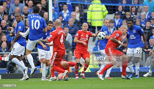 Mikel Arteta of Everton scores to make it 20 during the Barclays Premier League match between Everton and Liverpool at Goodison Park on October 17...