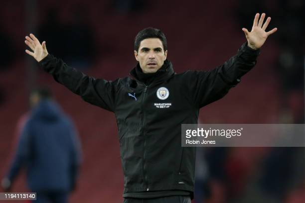 Mikel Arteta of Manchester City before the Premier League match between Arsenal FC and Manchester City at Emirates Stadium on December 15 2019 in...