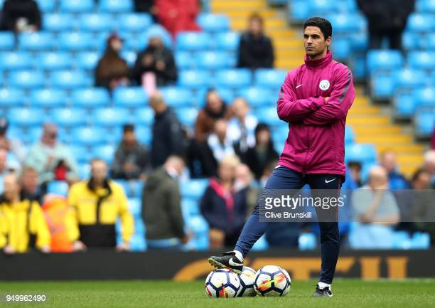 Mikel Arteta of Manchester City looks on during the Premier League match between Manchester City and Swansea City at Etihad Stadium on April 22 2018...