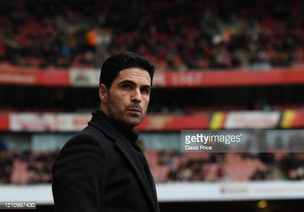 Mikel Arteta the Arsenal Head Coach before the Premier League match between Arsenal FC and West Ham United at Emirates Stadium on March 07 2020 in...