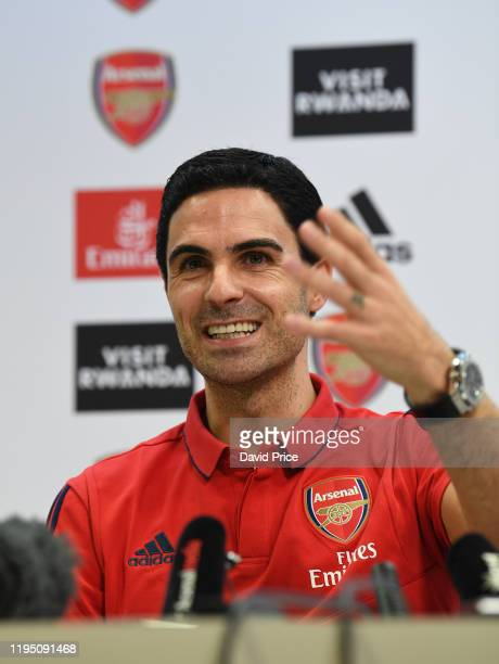 Mikel Arteta the Arsenal Head Coach during his press conference at Emirates Stadium on December 20 2019 in London England