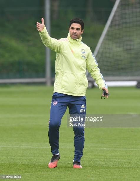 Mikel Arteta the Arsenal Head Coach during the Arsenal 1st team training session at London Colney on June 27, 2020 in St Albans, England.