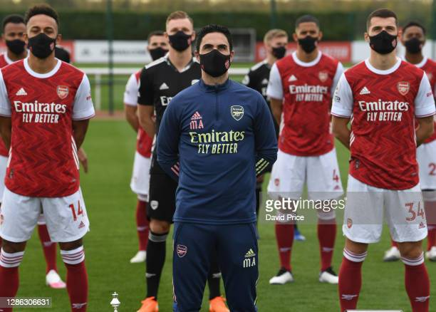 Mikel Arteta the Arsenal Manager during the Arsenal 1st team group photograph at London Colney on November 06 2020 in St Albans England