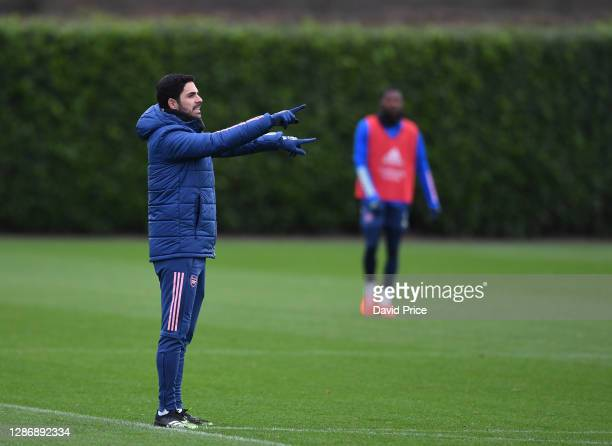 Mikel Arteta the Arsenal Manager during the Arsenal 1st team training session at London Colney on November 21 2020 in St Albans England