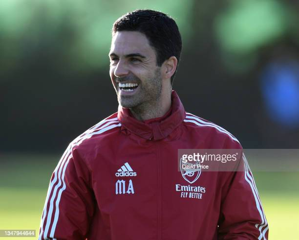 Mikel Arteta the Arsenal Manager during the Arsenal 1st team training session at London Colney on October 21, 2021 in St Albans, England.