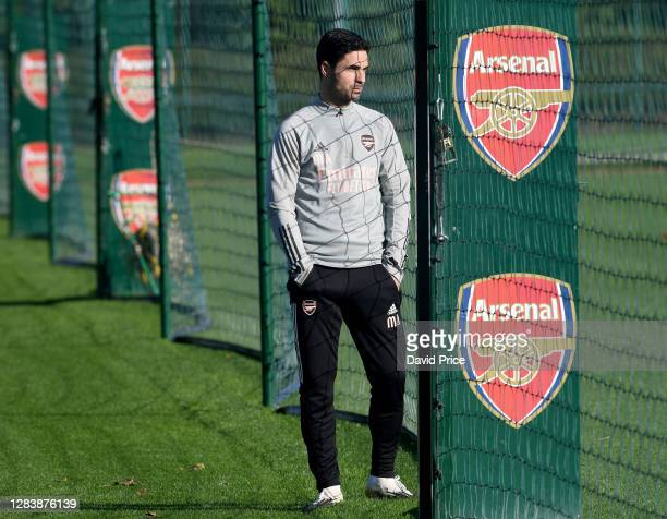 Mikel Arteta the Arsenal Manager during the Arsenal training session ahead of the UEFA Europa League Group B stage match between Arsenal FC and Molde...
