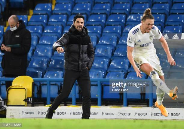 Mikel Arteta the Arsenal Manager during the Premier League match between Leeds United and Arsenal at Elland Road on November 22 2020 in Leeds England