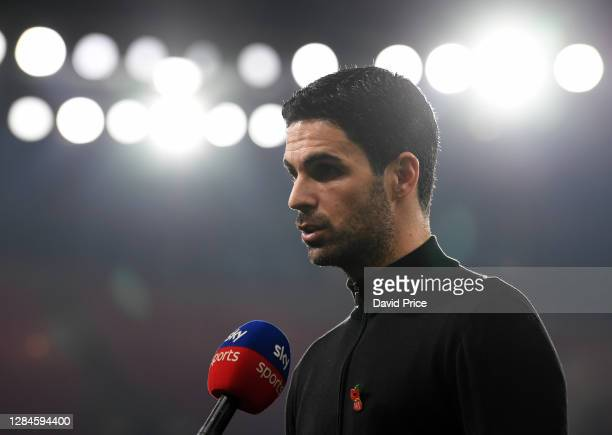 Mikel Arteta the Arsenal Manager speaks to the Sky Sports before the Premier League match between Arsenal and Aston Villa at Emirates Stadium on...