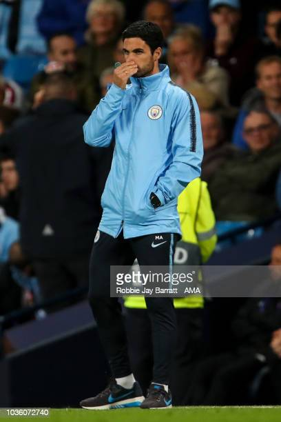 Mikel Arteta the assistant head coach / manager of Manchester City reacts during the Group F match of the UEFA Champions League between Manchester...