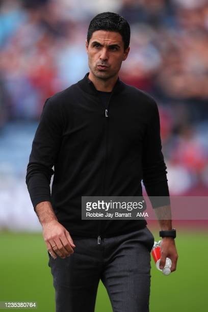 Mikel Arteta the head coach / manager of Arsenal during the Premier League match between Burnley and Arsenal at Turf Moor on September 18, 2021 in...