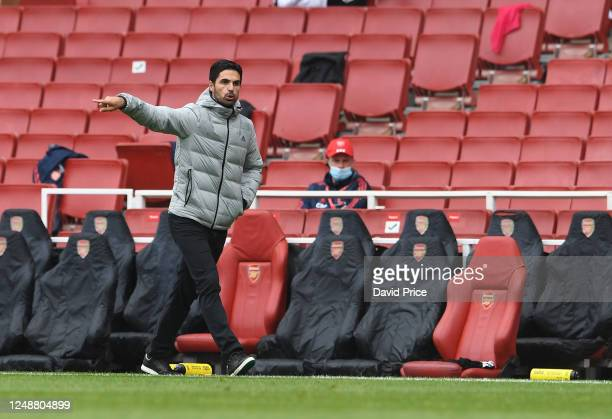 Mikel Arteta the Head Coach of Arsenal during the friendly match between Arsenal and Brentford at Emirates Stadium on June 10 2020 in London England