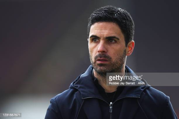 Mikel Arteta the manager / head coach of Arsenal during the Premier League match between Burnley and Arsenal at Turf Moor on March 6, 2021 in...