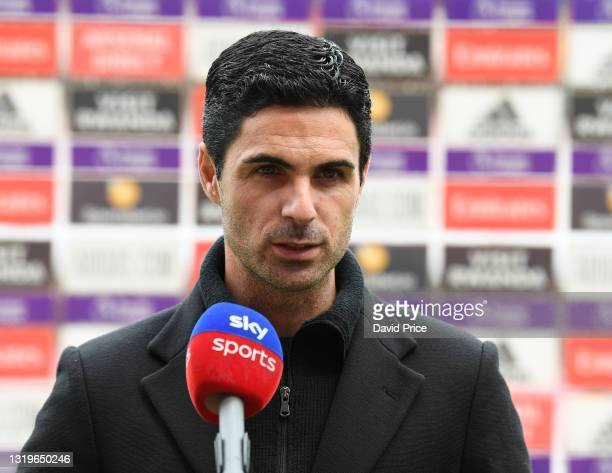 Mikel Arteta the Manager of Arsenal is interviewed before the Premier League match between Arsenal and Brighton & Hove Albion at Emirates Stadium on...