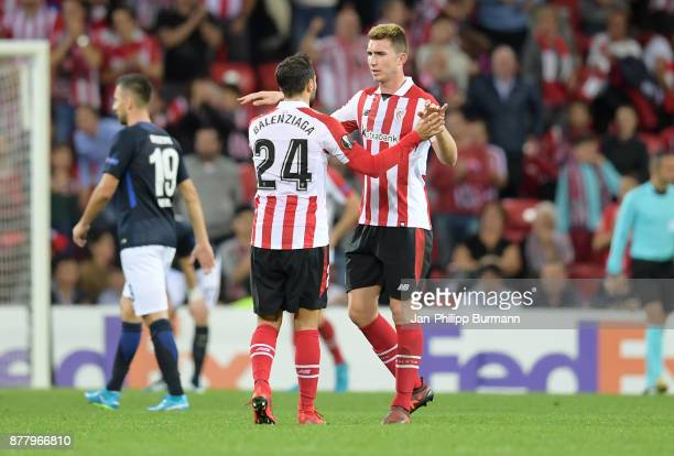 Mikel Balenziaga and Aymeric Laporte of Athletic Bilbao after the game between Athletic Bilbao and Hertha BSC at San Mames Stadium on November 23...