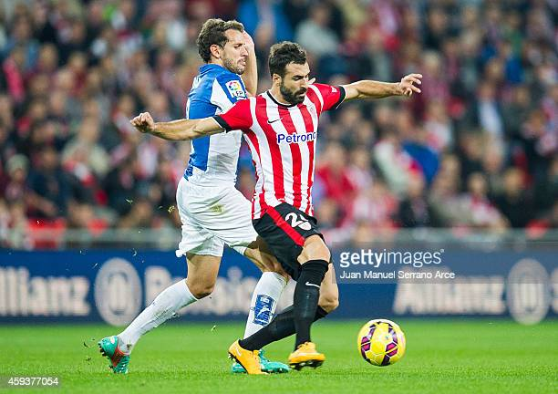 Mikel Balenziaga of Athletic Club duels for the ball with Cristhian Stuani of RCD Espanyol during the La Liga match between Athletic Club and RCD...