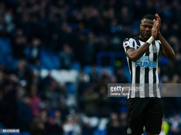Mikel Chancel Mbemba of Newcastle United claps the fans during the Premier League match between Chelsea and Newcastle United at Stamford Bridge...