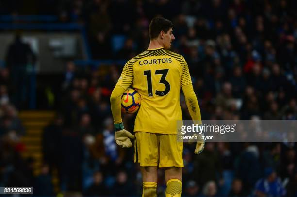 Mikel Chelsea Goalkeeper Thibaut Courtois holds the ball under his arm during the Premier League match between Chelsea and Newcastle United at...
