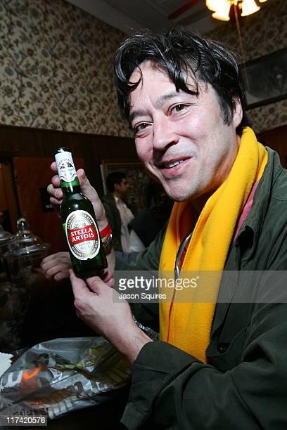 Mikel Cvetanovic drinking Stella Artios during 2007 Sundance Film Festival PBS Wine Escape at Filmmaker Lounge in Park City Utah United States