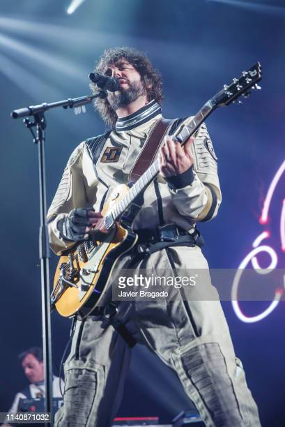 Mikel Izal from the band Izal performs in concert on stage at WiZink Center on April 06 2019 in Madrid Spain