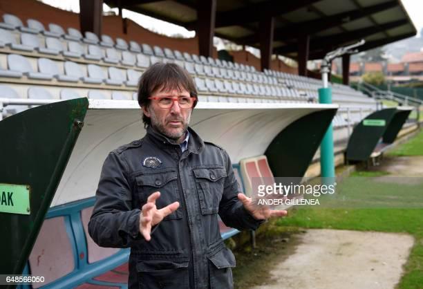 Mikel Jauregi football trainer and friend of Paris SaintGermain's coach Unai Emery speaks with journalists in the northern Spanish Basque village of...