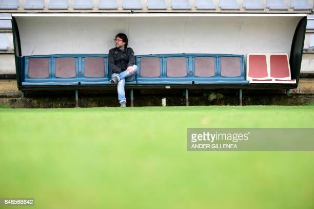 Mikel Jauregi football trainer and friend of Paris SaintGermain's coach Unai Emery poses in the northern Spanish Basque village of Hondarribia on...
