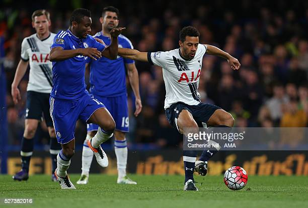 Mikel John Obi of Chelsea and Mousa Dembele of Tottenham Hotspur during the Barclays Premier League match between Chelsea and Tottenham Hotspur at...