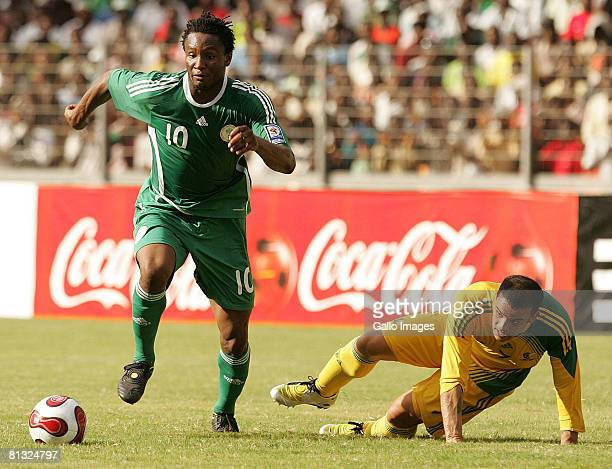 Mikel John Obi of Nigeria and Lance Davids of South Africa in action during the AFCON and 2010 World Cup Qualifier between Nigeria and South Africa...