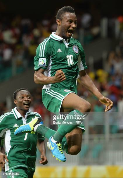 Mikel John Obi of Nigeria celebrates scoring his team's first goal during the FIFA Confederations Cup Brazil 2013 Group B match between Nigeria and...