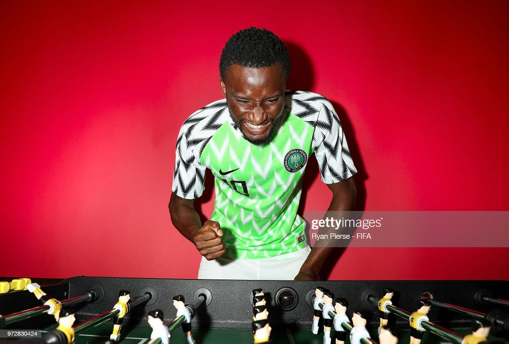 Mikel John Obi of Nigeria poses during the official FIFA World Cup 2018 portrait session on June 12, 2018 in Yessentuki, Russia.
